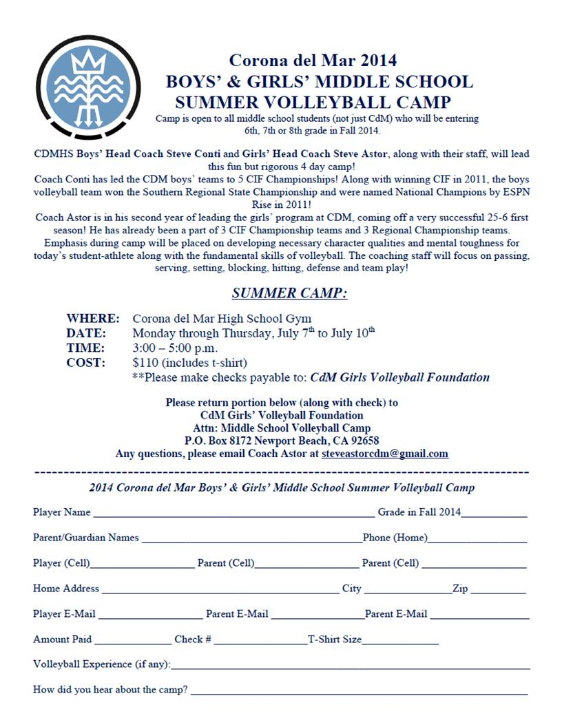 Cdm Middle School Camp Flyer 2014